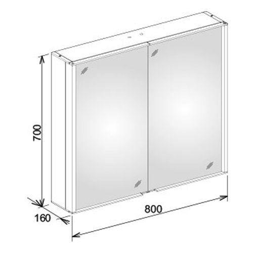 Keuco Royal Match Mirrored Cabinet 800mm 12802171301